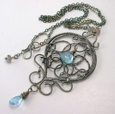 Blue Topaz Gemstone Argentium Sterling Silver Wire Wrapped Adjustable Necklace, $92.00 https://www.facebook.com/pages/Healing-Crystal-Jewelry/300033266677889?sk=app_251458316228