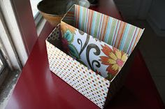 Create a mail holder by cutting the box in half and sliding them closer together. Will also make it sturdy.