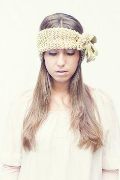 Stirnbänder - Gestrickte Gold- Stirnband - ein Designerstück von maryheadband bei DaWanda
