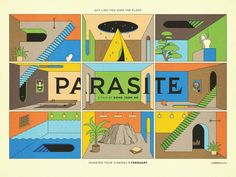 Film poster to accompany the UK theatrical release of Bong Joon Ho's Parasite. Motion Design, Films Étrangers, Memories Of Murder, Wallpaper Computer, Kalender Design, Illustrator, Film Poster Design, Poster Designs, Illustrations Posters