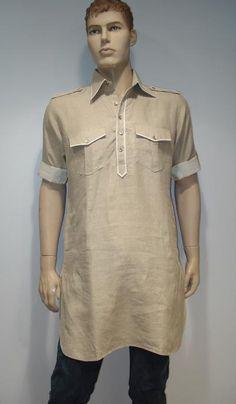 G3 fashions Beige Linen Short Pathani Kurta  Product Code : G3-MSP1015 Price : INR RS 2480