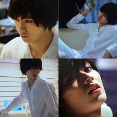 "L from Ep.3, 07/19/'15    [Preview, Ep.4] https://www.youtube.com/watch?v=Ft14aB_McYY Kento Yamazaki, Masataka Kubota, Hinako Sano, Yutaka Matsushige.  J drama series ""Death Note"", 07/26/'15 [Ep. w/Eng. sub] http://www.dramatv.tv/search.html?keyword=Death+Note+%28Japanese+Drama%29"