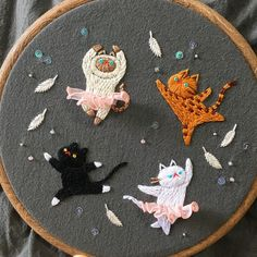 @nyang_stitch cute cat embroidery hoop art