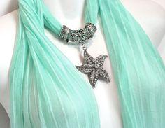 Pendant Scarf Necklace Scarves Mint by RavensNestScarfJewel, $27.00