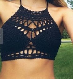Crochet Swimwear - Crochet top More - Flashmode Middle East Crochet Halter Tops, Tops Tejidos A Crochet, Crochet Bathing Suits, Crochet Summer Tops, Crochet Bikini Top, Mode Crochet, Crochet Diy, Crochet Fashion, Crochet Clothes
