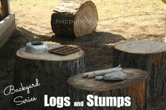 "Play Logs: Part 1 in a series ""Creating a Natural Play Space"": logs and stumps for play - a fantastic addition to a natural, backyard play space (happy hooligans)"