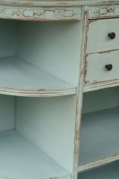 Simply Beautiful Bookcase Makeover 1. Paint 2 coats Duck Egg chalk paint 2. Wet rag distressing 3. Brush on clear wax 4. Buff