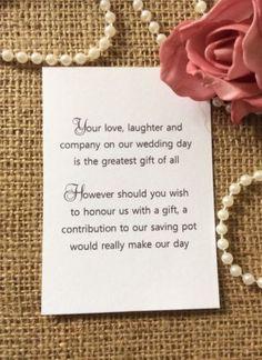 25 50 Wedding Gift Money Poem Small Cards