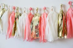 White Coral Light Gold Mylar Tassel Garland, Coral and Gold Decor, Coral Gold Wedding, Birthday Decoration, Baby Shower Decoration, Valentines Day, Fringe Garland