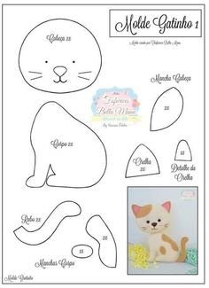 Gatinhos em feltro e tecido com moldes! Tap the link Now - The Best Cat Products We Found Worldwide! Felt Animal Patterns, Stuffed Animal Patterns, Stuffed Animals, Felt Templates, Felt Cat, Felt Christmas Ornaments, Cat Pattern, Pattern Sewing, Felt Fabric