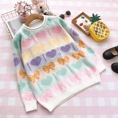 Sweet Colorful Love Bow Knit Sweater SE20122. Love And Bowknot Sweater.  sanrense 208d7d7aa