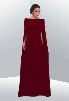 A Game of Clothes : Photo Crimson square cut poncho/cape style gown