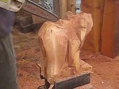 Chainsaw Carving - Bear on All Four Paws - YouTube