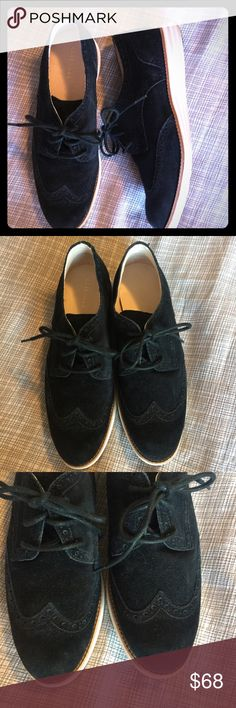 Cole Haan Lunargrand oxfords black suede 8.5 These are just gorgeous but I have too many black shoes! Cole Haan Lunargrand oxfords with the super cushy Nike Air sole in black suede with white sole. Size women's 8.5 fits TTS. In perfect condition with very little wear! Cole Haan Shoes Flats & Loafers