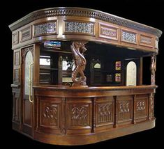 Big Canopy Home Pub Bar Antique Furniture Man Cave Tavern Counter W Sink  Marble
