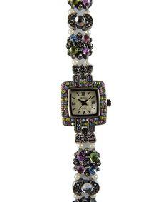 Look at this #zulilyfind! Silver Floral Rhinestone Square Bracelet Watch by Vecceli Italy #zulilyfinds