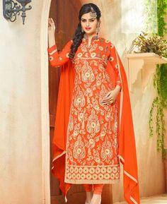 Buy Pretty Orange Straight Cut Salwar Kameez online at  https://www.a1designerwear.com/pretty-orange-straight-cut-salwar-kameez-6  Price: $39.00 USD