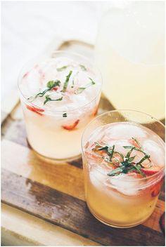 Drinks & Cocktails | Vodka Lemonade - Lemon Juice, Simple Syrup, Soda Water, Vodka, Vanilla, Strawberries, Basil.