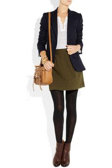 Need a hunter green skirt to pull off this look