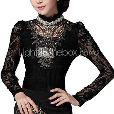 Women's Lace Black Blouse , Stand Long Sleeve - CAD $16.67