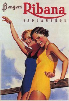 Fashion Girl Beach Swim Clothes Bengers Ribana Vintage Poster Repro FREE S/H #Vintage