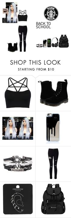 """""""School outfit #11"""" by weber-350 on Polyvore featuring WithChic, Dr. Martens, Beats by Dr. Dre, Miss Selfridge, Topshop, Sherpani, school, white, black and beats"""