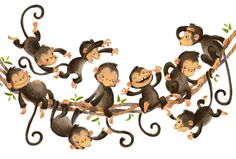 Monkey Magic by Anna Chernyshova Monkey Illustration, Children's Book Illustration, Character Illustration, Monkey Art, Cute Monkey, Monkey Pictures, Little Buddha, Little Monkeys, Cute Art