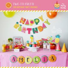Are you ready to plan or host the ultimate Tutti Frutti party? This unique theme is perfect for a TWO-tti Frutti two year old birthday, a summer bash, or even a baby shower for twins! Tutti Frutti, Party Printables, Party Labels, Fruit Birthday, 2nd Birthday Parties, Diy Party Kits, Happy Birthday Name, Diy Banner, Fruit Party