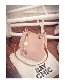 Pink Tassel Feminine Urban Ladies Bucket Bag