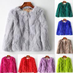 100% Real Rabbit Fur Women Coat Jacket Overcoat Garment Short Coat Outwear