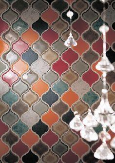 I want these in my house! Handmade tiles can be colour coordinated and customized re. shape, texture, pattern, etc. by ceramic design studios Tile Backsplash, Tiles, Tile Floor Diy, Moorish, Handmade Tiles, Kitchen Tiles Backsplash, Ceramic Design, Diy Tile, Lantern Tile