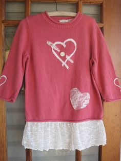 Boho sweater tattered heart Rustic pink sweater SM by ShabyVintage, $40.90