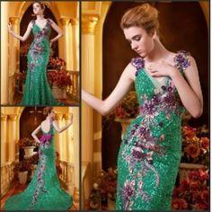 Luxury Mermaid V-Neck Empire Embroidery Chapel Train Peacock Green Formal Dress