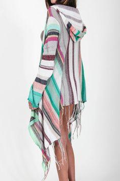 Goddis Linsey hooded wrap sweater in lemongrass