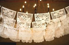 mexican wedding flags. Wonder if u can use lace and cut the shape u want. Or die it