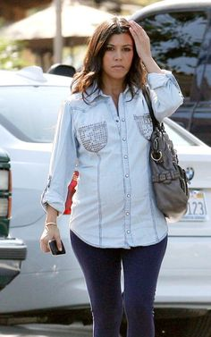 Kourtney Kardashian - All About the Denim Shirt Pregnancy Wardrobe, Pregnancy Outfits, Pregnancy Style, Pregnancy Fashion, Maternity Wardrobe, Maternity Outfits, Kardashian Style, Kourtney Kardashian, Kim Pregnant