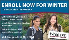 It's not too late to register for winter quarter at Whatcom Community College! Apply online or visit the friendly folks in the Registration Office, Laidlaw Center 102, to register for classes. Questions? Contact us at (360) 383-3030 or email registration@whatcom.ctc.edu.