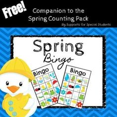 Have fun working on listening, following directions, and matching, with this Spring BINGO game!  Includes 6 game boards, calling cards and markers.This is the FREE companion product for the Spring Counting Pack_____________________________________________________________________Click the green star next to my picture to follow my store.