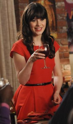 """Red dress on New Girl Thanksgiving episode 2012. Yep, there's a website """"What Would Zooey Deschanel Wear?"""""""