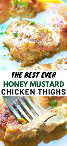 The perfect weeknight chicken dinner – Easy Juicy Oven Baked Honey Mustard Chicken Thighs Recipe. Made with boneless skinless chicken thighs and baked in the oven and a great dipping sauce. Ready in minutes. One of my favorite boneless skinless chick Crispy Baked Chicken Thighs, Chicken Thigh Recipes Oven, Crockpot Chicken Thighs, Baked Chicken Recipes, Chicken Thighs In Oven, Recipes With Chicken Thighs, Boneless Chicken Recipes Easy, Chicken Thigh Meals, Bake Chicken In Oven