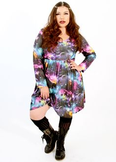 Domino Dollhouse - Plus Size Clothing: Babydoll Dress in Galaxy