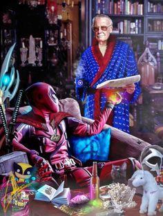 Deadpool and Stan lee Marvel Vs, Marvel Heroes, Mundo Marvel, Stan Lee, Comic Book Guy, Spiderman, Deadpool Funny, Arte Dc Comics, Supergirl