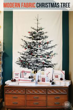 Fabric Christmas Tree- A fun idea if you can't get an actual tree or if you just love a fun, modern Christmas Pop! Christmas Tree On Table, Fabric Christmas Trees, Christmas Pops, Unique Christmas Trees, Alternative Christmas Tree, Noel Christmas, Modern Christmas, Christmas Tree Decorations, Christmas Crafts