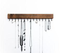 Dark Walnut Wood Wall Mounted Jewelry Organizer / Necklace | Etsy
