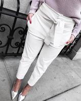 Pantalones con bolsillo de cintura sólida con bolsillo en la cintura Cuffed Pants, White Jeans, Shorts, Remarque, Revers, Occasion, Polyester, Fashion, Casual Wear Women