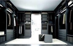 Black and white design walk-in-closet