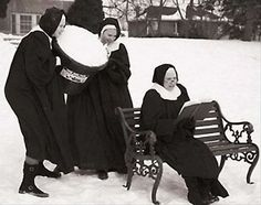 ha, ha!  fiery old sister agatha is about to be cooled off.....you go girls.  er, sisters.....
