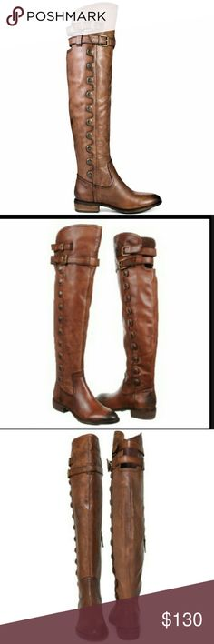 """Sam Edelman Pierce 2 Over the Knee Boots Glossy decorative snaps line the side of an over-the-knee boot crafted from supple leather and buckled with two straps at the top.  Approx. heel height: 1 1/4"""".Approx. boot shaft height: 20 1/2""""; calf circumference: 14"""".Side zip with buckle closure.Leather upper/textile lining/synthetic sole.By Sam Edelman; imported.  Approx. boot shaft height: 20 1/2""""; calf circumference: 14"""".  Excellent condition. No box. Sam Edelman Shoes Over the Knee Boots"""