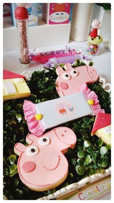 Cute cookies at a Peppa Pig birthday party! See more party ideas at CatchMyParty.com!