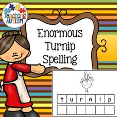 Enormous Turnip Spelling and Handwriting Task Cards SEN ASD  Great for the autistic classroom!   This includes 3 different levels of task cards;  spelling with prompt above spelling with no prompt over handwriting  The spelling with no prompt boards can also be used for spelling/handwriting with no prompt.  Boards come in color or black and white option.  All vocabulary/images linked to Enormous Turnip topic.  9 different types of cards x 3 options = 27 task cards.  * This does require a bit…
